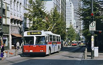 Granville Mall, Vancouver - A trolley bus on the old mall in 1985
