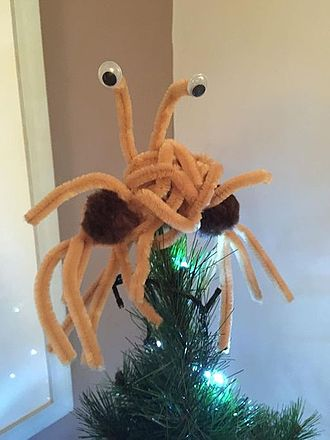 Flying Spaghetti Monster - An alternative tree-topper for Pastafarians, handmade from pipe cleaners and pom poms.