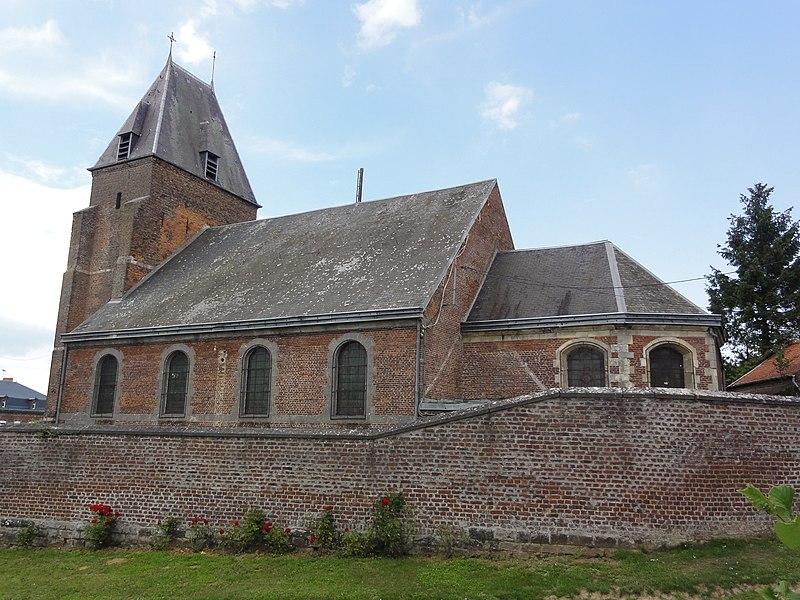Fontaine-au-Bois (Nord, Fr), église, vue latérale