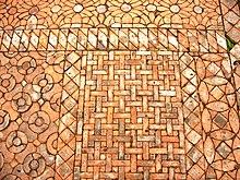 Abbaye De Fountains, Yorkshire Du Nord Angleterre. Mosaïque De Carreaux De Terre  Cuite, XIII E Siècle