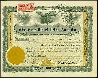 Four Wheel Drive - Share of the Four Wheel Drive Auto Co., issued 6. May 1919