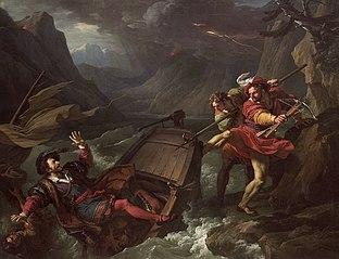 Guillaume Tell renversant la barque sur laquelle le gouverneur Gessler traversait le lac de Lucerne