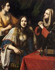 Martha scolding her vain sister Mary Magdalene