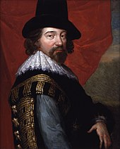 Portrait with side view of a bearded man wearing a tall hat; the face looks out of the picture. Sir Francis Bacon (1561–1626)