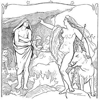 Hildisvíni - Freyja gesturing to Hyndla  (1895)  by Lorenz Frølich