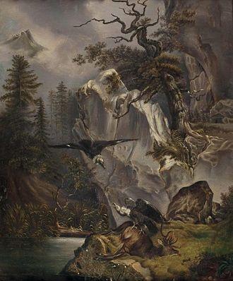 Friedrich Gauermann - Image: Friedrich Gauermann Zwei Geier beim verendeten Hirsch (1832)