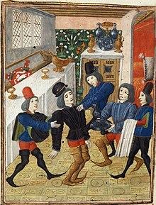 Illustration en couleurs d'un homme mourant tenu par d'autres hommes.