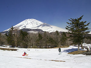 Historic eruptions of Mount Fuji - The Hoei Crater, visible to the right of the peak of Mt. Fuji, was the location of the 1707 AD eruption that spewed ash as far as Edo.