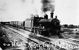 Ooldea, South Australia - A wood and water train in Ooldea, 1919.