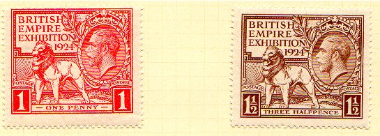 GB British Empire Exhibition Postage Stamps