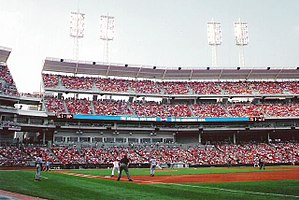 A view of the third base line stands at Great American Ball Park, including The Gap.