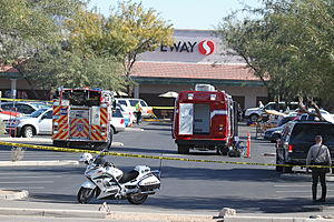 2011 Tucson shooting - First responders at the crime scene outside the Casas Adobes Safeway