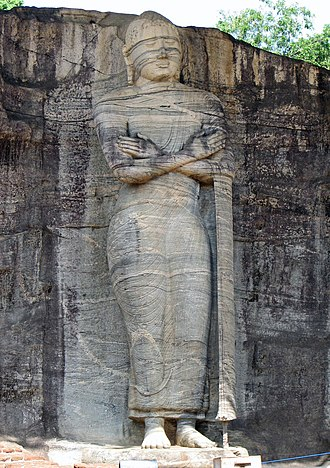 Gal Vihara - The standing image depicts an unusual mudra