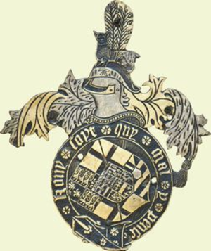 Cap of Maintenance - Position of Cap of Maintenance within a heraldic achievement, namely on top of the helm and below the crest. It thus takes the place of the torse. It is worn with the tail facing backwards. Garter stall plate of Arthur Plantagenet, 1st Viscount Lisle(d.1542)