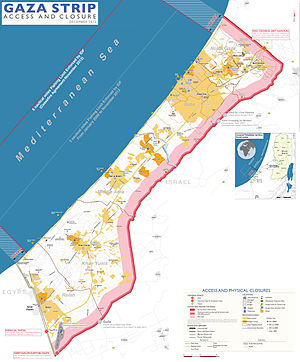 Blockade of the Gaza Strip - Gaza Strip, with Israeli-controlled borders and limited fishing zone