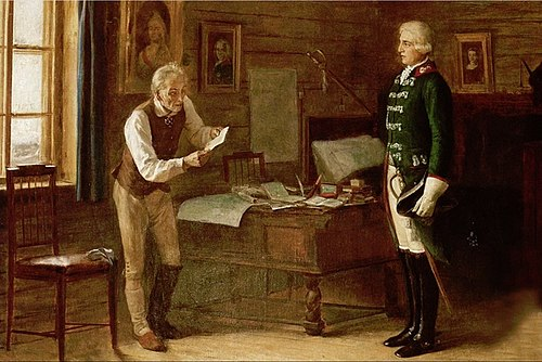 Exiled Suvorov receiving the Emperor's order to lead the Russian army against Napoleon. Geller Suvorov.jpg
