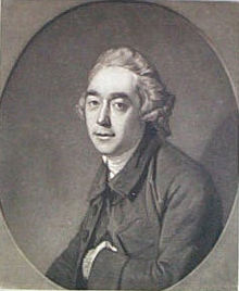 Black and White print. Half-length portrait of a Steevens. He has a long oval face, wears a small wig and has his left hand inside his jacket.