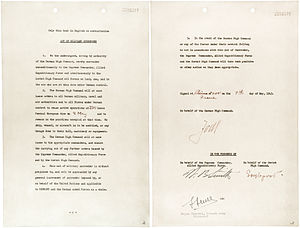 German Instrument of Surrender - The first instrument of unconditional surrender signed at Reims on 7 May 1945.