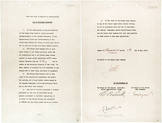 German Instrument of Surrender 1945 historical document