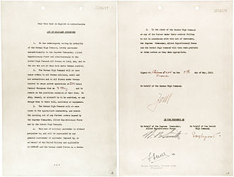 End of World War II in Europe - The German Instrument of Surrender signed at Reims, 7 May 1945