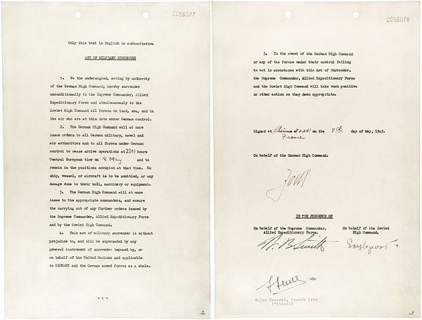 The first instrument of unconditional surrender signed at Reims on 7 May 1945. German instrument of surrender2.jpg