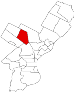 Map of Philadelphia County, Pennsylvania highlighting Germantown Borough prior to the Act of Consolidation, 1854