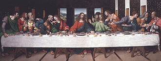 The Last Supper (Leonardo) - The Last Supper, ca. 1520, by Giovanni Pietro Rizzoli, called Giampietrino (active 1508–1549), after Leonardo da Vinci, Oil on canvas, in the collection of The Royal Academy of Arts, London; full-scale copy that was the main source for the twenty-year restoration of the original (1978-1998). It includes several lost details such as Christ's feet and the salt cellar spilled by Judas. Giampietrino is thought to have worked closely with Leonardo when he was in Milan. The painting hung in the chapel of Magdalen College, Oxford from 1992.
