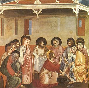 Christ washing the feet of the Apostles, by Gi...