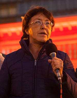 Gloria La Riva - Gloria La Riva speaking at a protest in San Francisco, January 2017