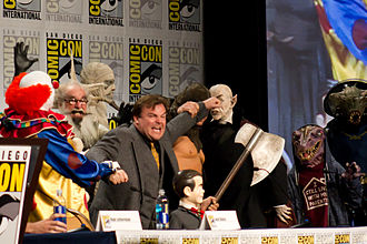 "Goosebumps (film) - Jack Black ""fighting"" Slappy and his fellow monsters at the 2014 San Diego Comic-Con International."