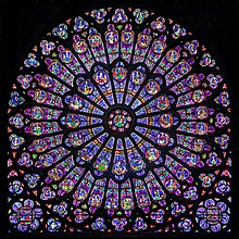 Symbolism The North Rose Of Notre Dame Paris Has At Its Centre Blessed Virgin Mary And Christ Child In Majesty Surrounded By Prophets Saints