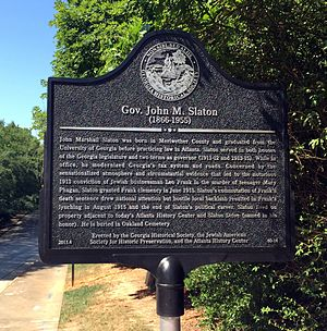 John M. Slaton - Georgia Historical Society marker for Governor John M. Slaton