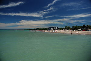 Grand Bend, Ontario. The beach seen from the p...
