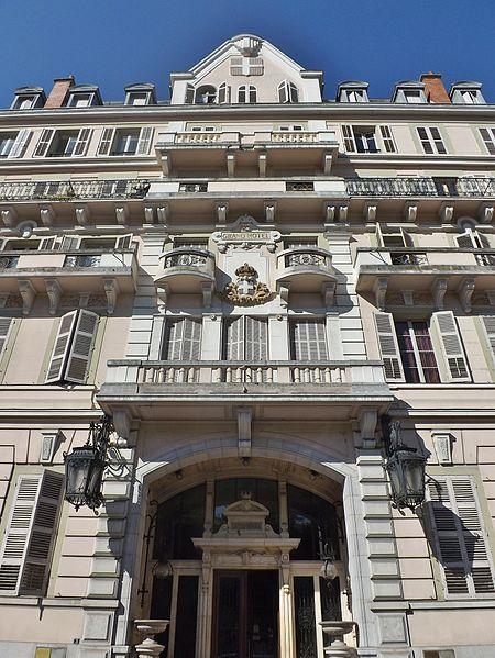 Sight of Grand Hôtel monumental facade, in Aix-les-Bains, Savoie, France.
