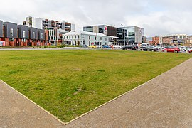 Grassy area at the corner of Huanui Ln and Lichfield St, Christchurch, New Zealand.jpg