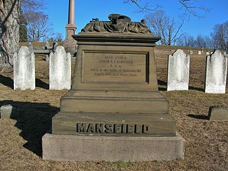 Joseph K. Mansfield - The Gravestone monument for Joseph K. Mansfield at Indian Hill Cemetery, Middletown, CT on February 2016