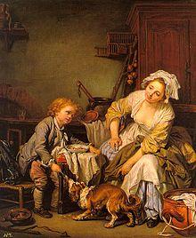 Tableau représentant à gauche un enfant assis donnant à manger à un chien, à droite une femme assise