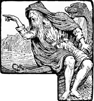 """Hárbarðsljóð - """"Greybeard mocks Thor"""" (1908) by W. G. Collingwood."""