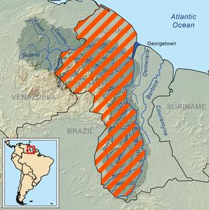 Guayana Esequiba - Striped, the area claimed by Venezuela.