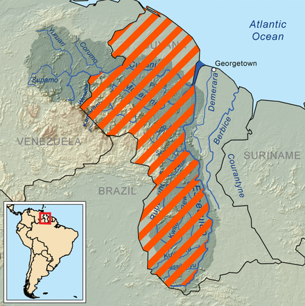 The Guayana Esequiba claim area is a territory administered by Guyana and claimed by Venezuela. Guayana Esequiba (zona completa).png
