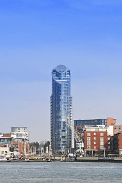 No. 1 Gunwharf Quays, Portsmouth, UK, colloquially known as The Lipstick, East Side Plaza Tower, or Gunwharf Tower Building seen from Haslar