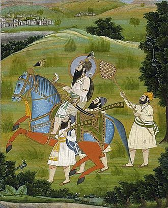 Guru Gobind Singh - Portrait of Guru Gobind Singh, holding a falcon and escorted by Sikhs