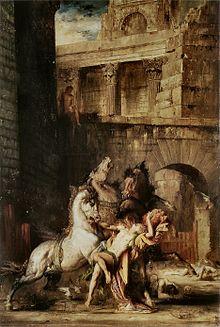 Într-un peisaj cu ruine antice, un om este atacat de trei cai, calul stâng mușcându-l cu sânge la încheietura mâinii.