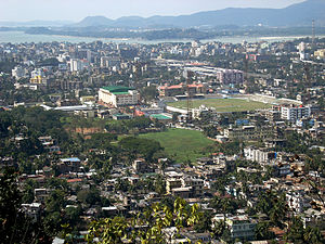 City view from the Gandhimandap, Guwahati. Loo...