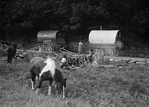 Romani people - Gypsies camping. Welsh Romanies near Swansea, 1953