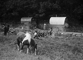 Romani people - Gypsies camping. Welsh Romanies near Swansea, 1953