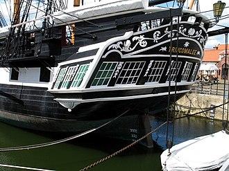 HMS Trincomalee - HMS Trincomalee, stern quarter.