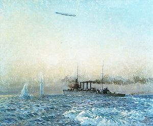 HMAS Sydney (1912) - Painting depicting Sydney and L43 in combat