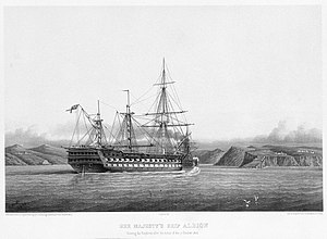 Arthur Cumming (Royal Navy officer) - Engraving of the Albion, partially dismasted during the Crimean War