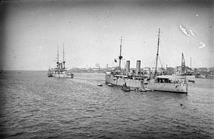 Battle of Tanga - HMS Fox at left.